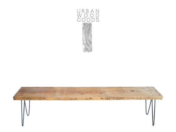 """42"""" x 11.5"""" w x 18""""tall  Industrial reclaimed wood bench with mid century steel hairpin legs (free shipping special)"""