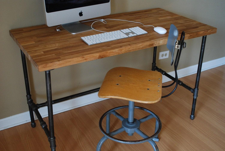 Industrial Desk With Oak Top And Steel Pipe Legs