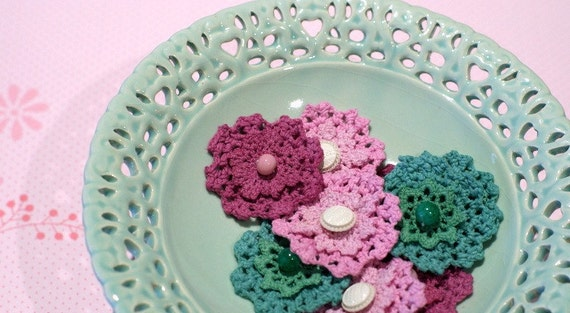 Crochet flowers - pink, mint and pale plum