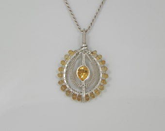 Faceted Citrine Silver Wire Wrap Pendant