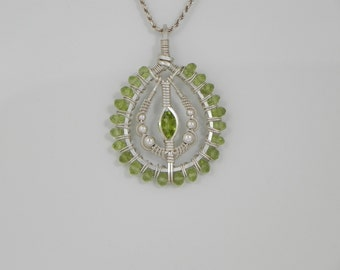 Faceted Peridot Silver Wire Wrap Pendant