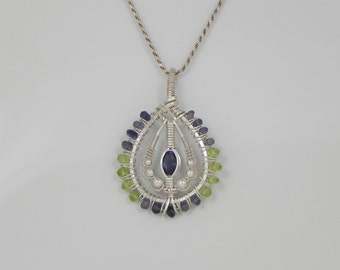 Faceted Iolite Silver Wire Wrap Pendant