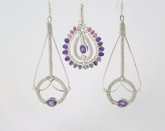 Faceted Amethyst Argentium Sterling Silver Wire Wrap Pendant and Earring Set