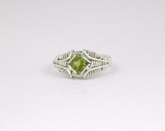 Faceted Peridot Argentium Sterling Silver Wire Wrap Ring