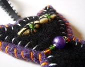 Black Cat Halloween Ornament - Felted Wool