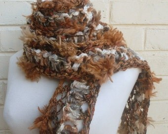 Womens scarf hand knitted faux fur in nougat and coffee brown tufts of fur and cream with tassels Unique accessories