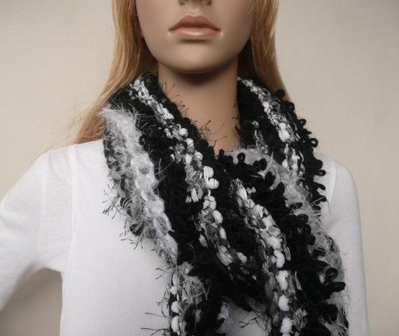 Scarf Hand Knit Black & White Collingwood Scarf  Designer Sport club fan scarf 9 Beautiful Yarns Womens Winter Accessory