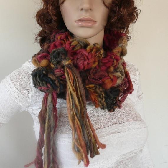Chunky Scarf  Italian yarn Hand Knit Scarf in Rich Colors - dark blue, mustard, maroon, gray  with tassels, neck warmer winter fashion