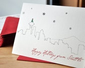 Seattle Skyline Holiday, Set of 10 Cards