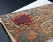 Scruffy Heart card in Brown Velvet Paisley fabric with maroon scruffy heart