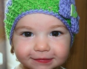 PDF PATTERN- lilac baby crochet hat with bow includes 5 sizes from newborn to adult - Welcome to sell your work from this pattern