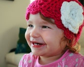 PDF PATTERN- Baby crochet hat pattern Pink hat pattern with flower 5 sizes from newborn to adults