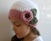 PDF PATTERN Vintage inspired crochet beanie with flower includes 4 sizes from newborn to adult