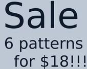 PDF PATTERNS crochet and amigurumi patterns, pick any 6 crochet and amigurumi patterns for 18 dollars