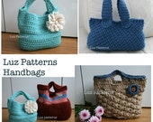 SALE Crochet Handbags patterns, 3 bags patterns for 9 dollars SALE