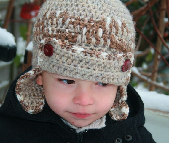 PDF PATTERN Crochet aviator earflap hat with FREE scarf pattern. includes 4 sizes from newborn to adult - you are welcome to sell your work from this pattern