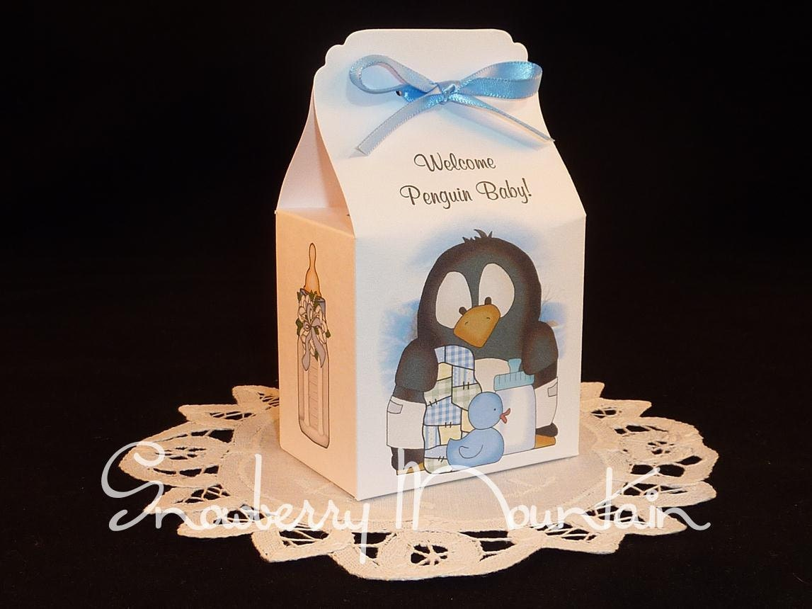 penguin baby boy baby shower favor boxes set by snowberrymountain