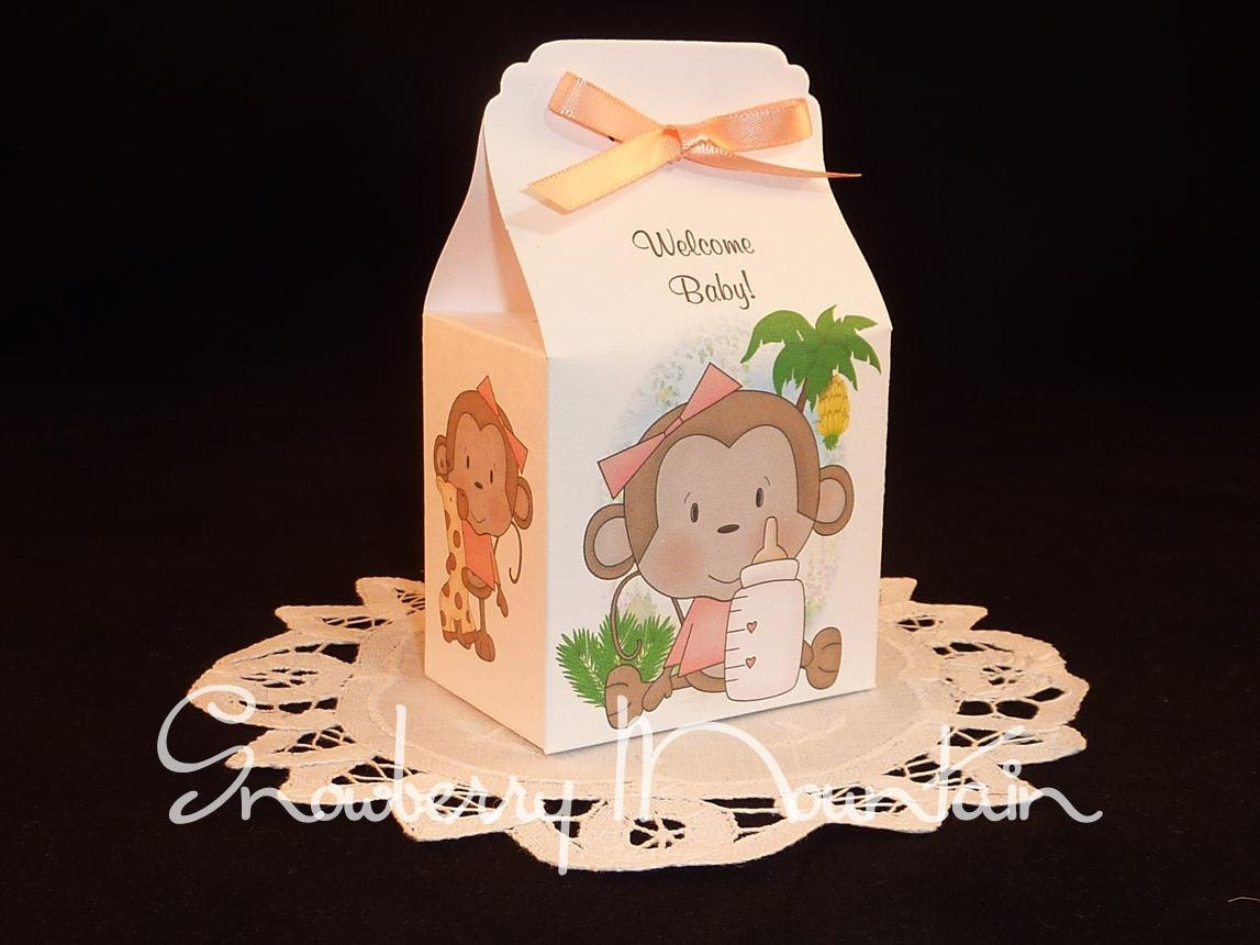 Monkey baby girl baby shower favor box kits by snowberrymountain - Monkey baby shower favors ideas ...