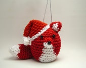 Christmas Tree Ornament Red Fox with Santa Hat