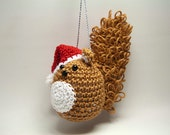 Christmas Tree Ornament Brown Squirrel with Santa Hat