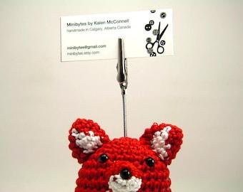 Fox Business Card Holder Amigurumi - Red/Crimson