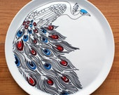 Hand Drawn Serving Plate - Peacock