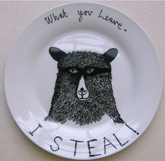 Side Plate - Hand Painted - Hungry Bear Thief