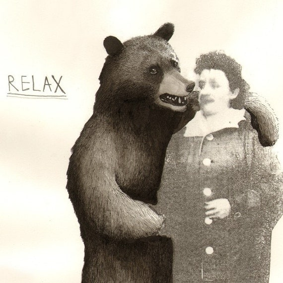 Print - Bear and Granny 16 x 12 inches