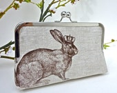 Linen Rabbit of Royalty Clutch in Chocolate