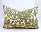 Yellow and Gray Pillow Cover. Designer Lumbar Pillow. Gray and Yellow Paisley Fabric. Henna Print Fabric. Citrine Yellow & Gray Toss Pillow