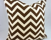 Designer Pillow Cover in ZigZag Brown/ Natural -18x18 or 20x20 inch (Chocolate and Off-White Chevron)