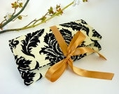 Jewelry Roll | Design Your Own Travel Accessory for Her | Custom Bridesmaid Gift | Yellow & Gray Aviary Fabric Collection | Damask Black