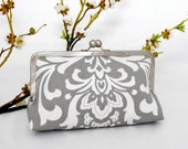 Gray Damask KissLock Clutch