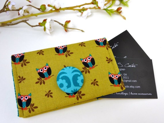 Olive Owl Business Card Holder/ Small Wallet
