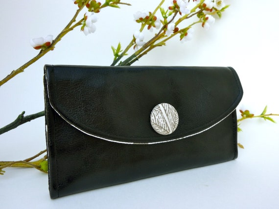 NEW- Black Faux Leather Wallet with Grey Tree Peony Lining