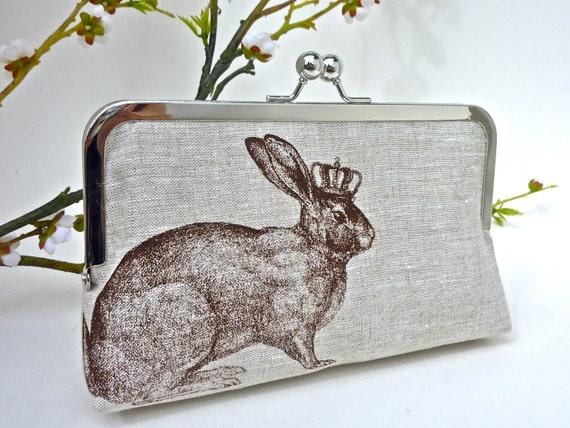 Linen Rabbit of Royalty Clutch in Chocolate