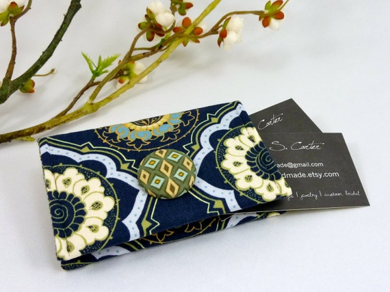 Cashmere Cameo Night Business Card Holder/ Small Wallet