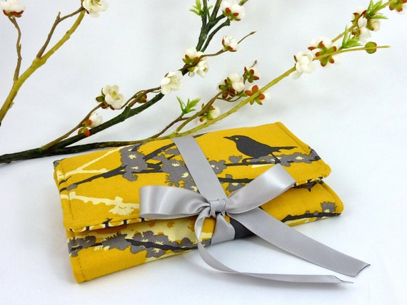 Jewelry Roll   Design Your Own Travel Accessory for Her   Custom Bridesmaid Gift   Yellow & Gray Aviary Fabric Collection   Yellow Sparrows