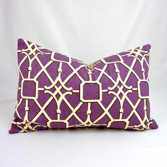 Designer Lumbar Pillow Cover in Network Plum - 12x18 inch (Off-White/ Cream w/ Chocolate Lattice on Purple)