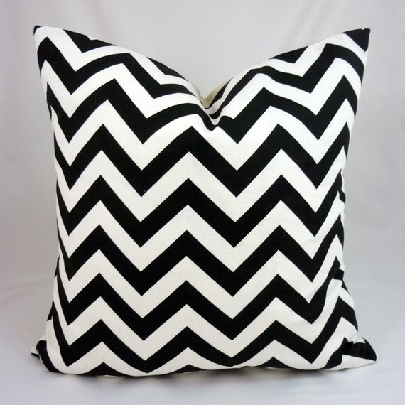 Designer Pillow Cover in ZigZag Black White - 18x18 or 20x20 inch (Black and White Chevron Pattern)