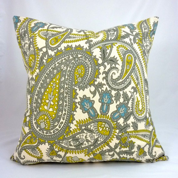 Designer Pillow Cover in Henna Citrine Natural - 18x18 or 20x20 inch (Grey, Yellow, Blue Paisley Floral on Off-White)