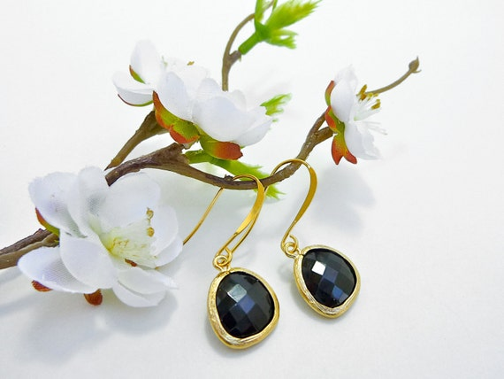 Ready to Ship - Black Onyx Faceted Glass Drop Earrings in 22K Gold