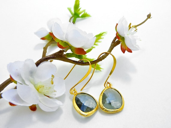 Ready to Ship - Smokey Grey Faceted Glass Drop Earrings in 22K Gold