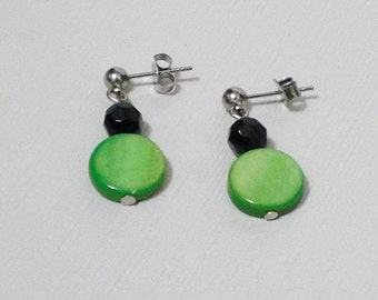 Green shell and glass earrings