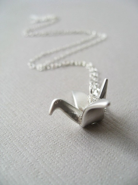 A Paper Crane for Luck Necklace (in Silver)