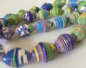 Reserved: Upcycled paper beads made from Tetley Tea boxes