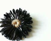 Reserved: Upcycled VHS tape black and gold flower barrette or brooch- your choice