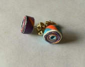 Tiny colorful hand rolled paper bead earrings made from wrapping paper