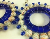 OOAK bold upcycled map paper bead and blue glass bottle ring earrings