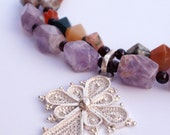 Silver Filigree Ethiopian Cross Necklace with Lavender Amethyst & Ocean Jasper